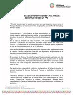 02-04-2019 SESIONA LA MESA DE COORDINACIÓN ESTATAL PARA LA CONSTRUCCIÓN DE LA PAZ.