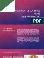 Nutrición de Los Seres Vivos NUTRIENTES