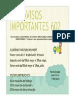 AVISOS IMPORTANTES 602