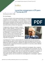ConJur - Investigado Não Precisa Comparecer a CPI, Decide 2ª Turma Do STF