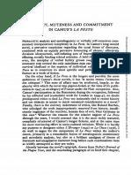 French Studies Volume Xxxiv Issue 4 1980 [Doi 10.1093_fs_xxxiv.4.422] Greene, Robert w. -- Fluency, Muteness and Commitment in Camus's La Peste (2)