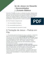 A Tentação de Jesus No Deserto