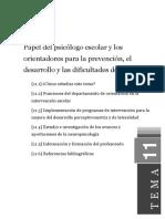 TEMA 11 Papel Del Psicólogo Escolar y Los Orientadores Para La Prevención, El Desarrollo y Las Dificultades de Aprendizaje
