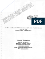 HV Transformer Oil Filtration Sumesh Instruction Manual