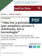 """""""Não Foi a Privatização Que Ampliou Acesso À Telefonia, Foi a Tecnologia""""  Brasil de Fato"""