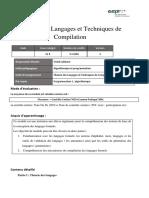 Fiche Module Théorie Des Langages Et Techniques de Compilation