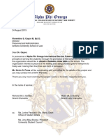 Letter to AUSL Re Donation of Chess Table