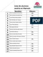 Lista de Alumnos Diplomado en Hipnosis