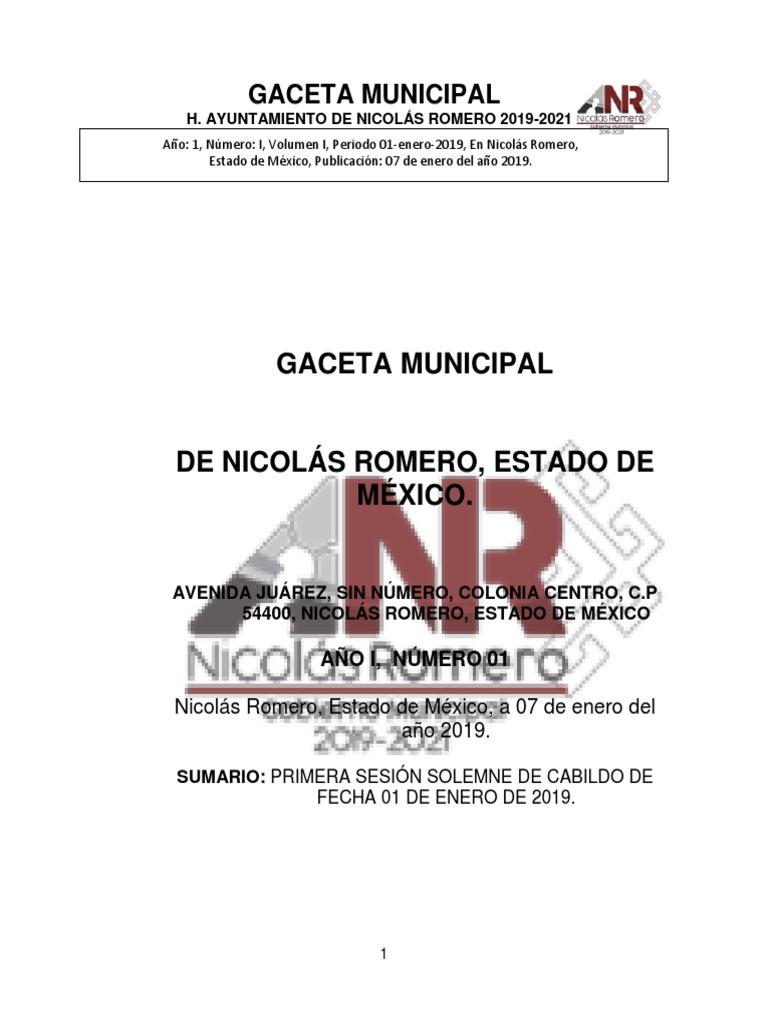 Relamento Organico Nicolas Romero Pirotécnica Defensa Civil