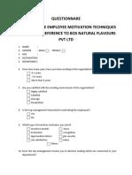Questionnare Employee Motivation