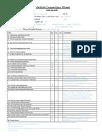 Vehicle Inspection Sheet