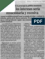 Al Sector Privado Le Preocupa La Politica Monetaria Alza de Los Intereses Seria Inflacionaria y Recesiva - El Diario de Caracas 02.11.1989