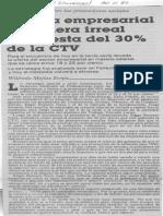 Cupula Empresarial Considera Irreal Propuesta Del 30% de La CTV - El Universal 30.11.1989