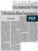 Edgard Romero Nava - Despues de La Abstencion Viene La Revolucion Afirma Consecomercio - Ultimas Noticias 07.12.1989