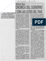 Edgard Romero Nava - Politica Economica Del Gobierno No Coincide Con Las Leyes Del Pais - Diario El Mundo 21.11.1989