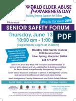 9th Annual Senior Safety Forum World Elder Abuse Awareness Day