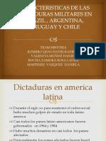 CARACTERISTICAS DE LAS  DICTADURAS MILITARES EN BRAZIL , ARGENTINA, URUGUAY Y CHILE