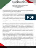 Presidente Vizcarra presentará cuestión de confianza al Congreso