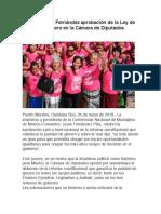 Celebra Laura Fernández aprobación de la Ley de Paridad y Género en la Cámara de Diputados