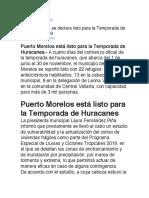 Puerto Morelos Se Declara Listo Para La Temporada de Huracanes 2019