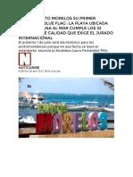 Logra Puerto Morelos Su Primer Distintivo 'Blue Flag'- La Playa Ubicada en La Ventana Al Mar Cumple Los 33 Criterios de Calidad Que Exige El Jurado Internacional