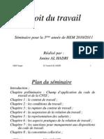 Sommaire & Chapitre ire Seminaire Droit Travail 3 Annee Hem to Ah to Hem Vi