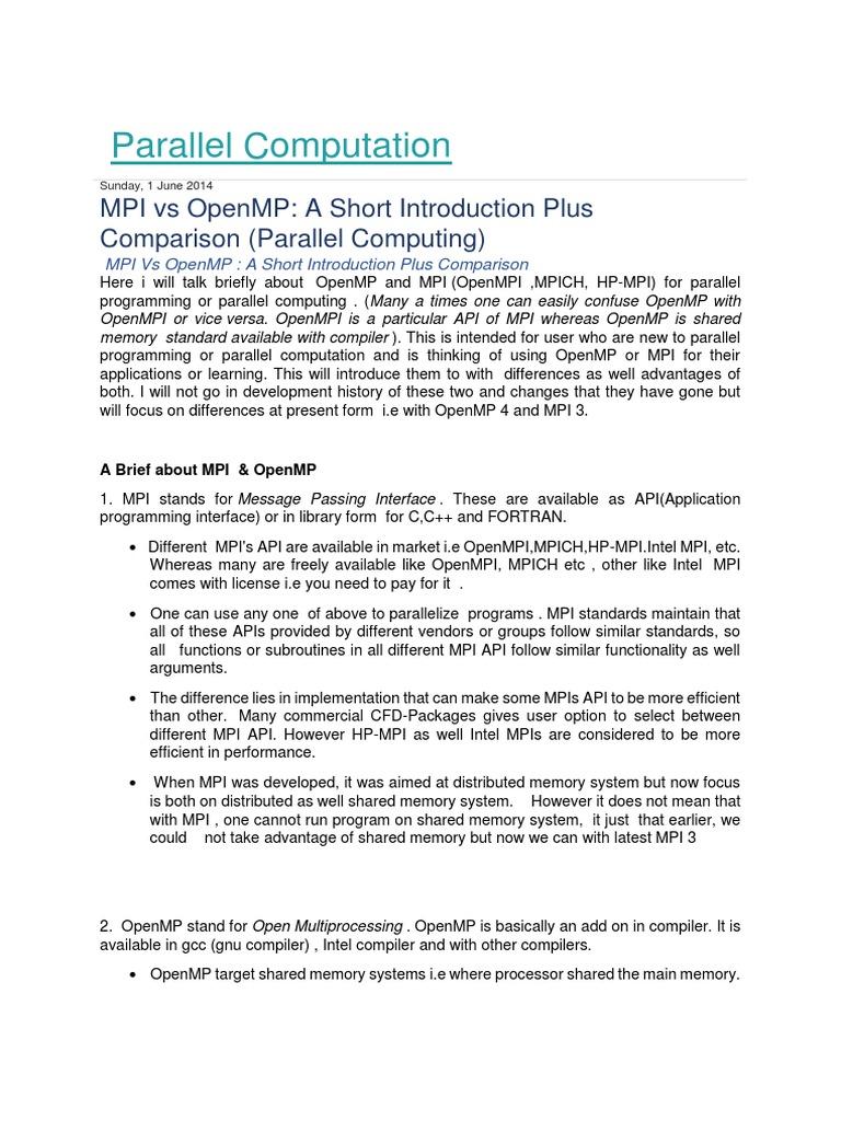 MPI vs OMP | Message Passing Interface | Digital Technology