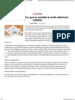 Recibo de Luz ¿Por Qué Es Variable La Tarifa Eléctrica [VIDEO]