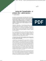 Les Vertus de l'Inexplicable – à Propos Des « Gilets Jaunes » _ AOC Media - Analyse Opinion Critique