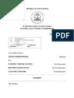 Trevor Andrew Manuel vs EFF & Two Others - Defamation Interdict Judgment - Matojane, J - 2019-05-29
