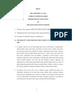 Draft Memorandum of Association