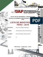 Lista de Ministros Del Perú - 2019