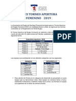 Bases torneo rugby Apertura femenino seven