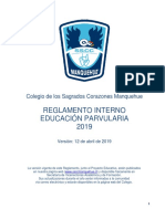 Reglamento Interno Educación Parvularia 2019