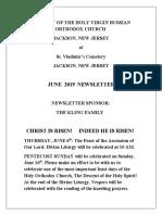 Nativity of the Holy Virgin Church - Newsletter - June, 2019
