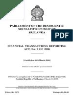 06-2006 FINANCIAL TRANSACTIONS REPORTING Act Eng - Sri Lanka