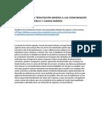 Beneficios de La Tributación Minera a Las Comunidades Derecho de Vigencia y Canon Minero