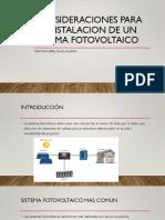 Consideraciones Para La Instalacion de Un Sistema Fotovoltaico