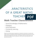 5 Characteristics of a Great Maths Teacher