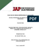 Plan de Tesis Mucipalidad Provincial Urubamba Gestion Tributaria Modificado