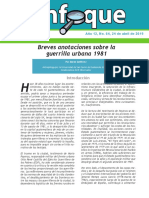 Boletín Electrónico ENFOQUE, Análisis de Situación No. 64 Breves Anotaciones Sobre La Guerrilla Urbana 1981