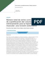 Número Total de Series Como Método de Cuantificación Del Volumen de Entrenamiento Para La Hipertrofia Muscular... Una Revisión Sistemática