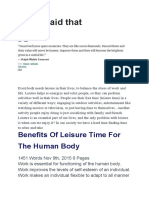Benefits of Leisure Time
