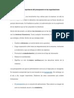 Análisis de La Importancia Del Presupuesto en Las Organizaciones
