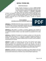 Acta Constitutiva de Royal Tours SRL