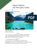 Los 10 Mejores Lugares Turísticos de Perú Para Visitar