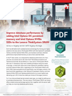 Improve database performance by adding Intel Optane DC persistent memory and Intel Optane NVMe SSDs to the Lenovo ThinkSystem SR650