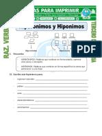 12 Ficha de Hiperonimos y Hiponimos Para Tercero de Primaria