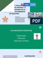 Evaporación y Disolución Como Operación Unitaria y a Escala de Laboratorio y Alistamiento de Muestras