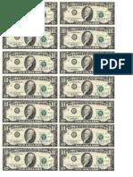 Dollar Bills Tens Sheet